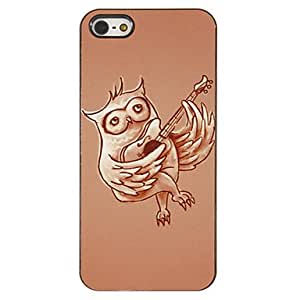 DUR Owl Playing Guitar Pattern PC Hard Case with 3 Packed HD Screen Protectors for iPhone 5/5S