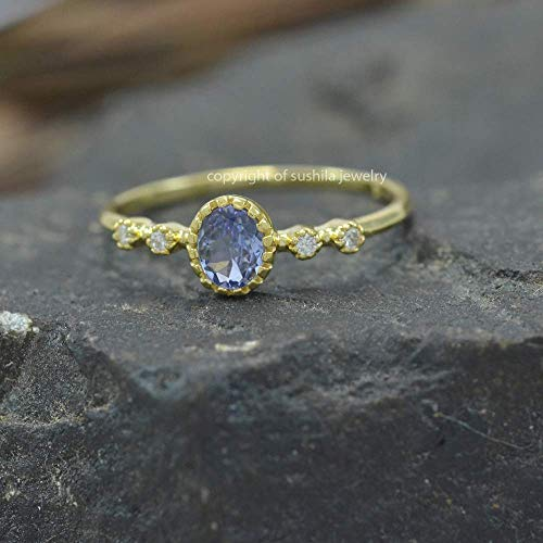 AA Real Tanzanite SI Clarity G-H Color Diamond 14k Solid Yellow Gold Engagement Stackable Ring