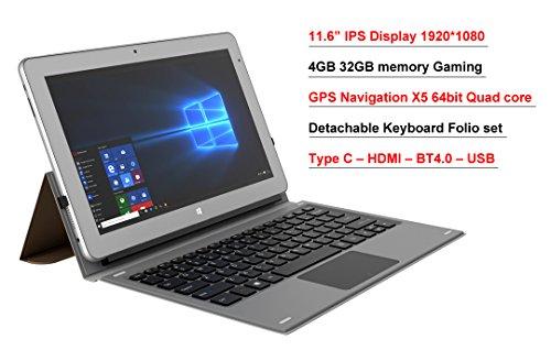 11.6'' intel Atom X5 8350 2 in1 Windows 10 GPS Laptop tablet PC IPS 4GB 32GB EMMC Bundle Keyboard Board Folio set by vitalASC