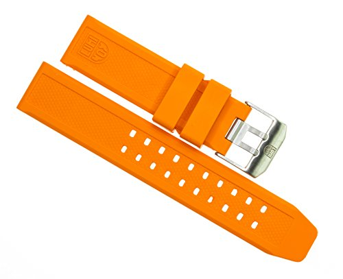 LUMINOX 23mm Rubber Strap EVO Watch Band 3050 3950 Colormark Navy Seal Orange ()