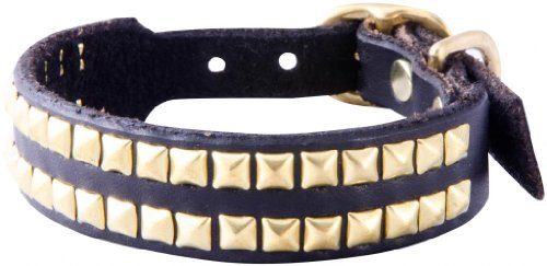 "Paco Collars - ""Chickies"" - Handmade Leather Small Dog Collar- 3/4"" Wide - Brass - Black 12""-14"""