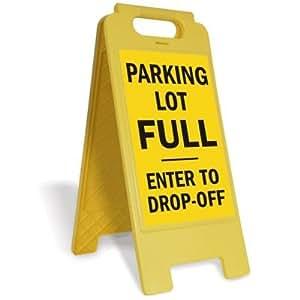 "Señal plegable de plástico con texto en inglés ""Parking Lot Full"", ""Enter To Drop-Off"", 30,5 x 63,5 cm"