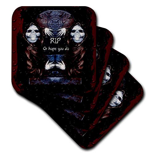 (3dRose ET Photography - Halloween Designs - Grim reaper with tombstone and Halloween saying - set of 4 Coasters - Soft)