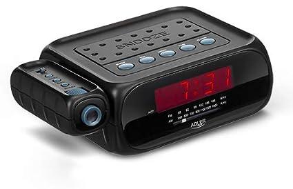 Adler Radio Despertador con proyector Reloj, plastico, Negro, 19 x 7 x 16