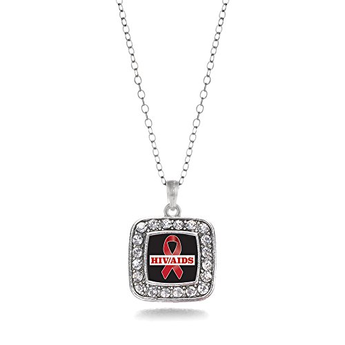 Inspired Silver - HIV/AIDS Awareness Ribbon Charm Necklace for Women - Silver Square Charm 18 Inch Necklace with Cubic Zirconia Jewelry (Charm Awareness Ribbon Necklace)