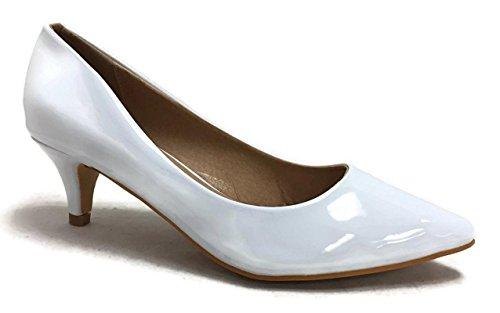 Fashion Embellished - Coshare Women's Fashion Patent Embellished Front Low Heel Pumps, Plain White, 8.5