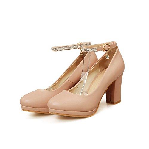 VogueZone009 Damen PU Leder Hoher Absatz Rund Zehe Rein Schnalle Pumps Schuhe Pink