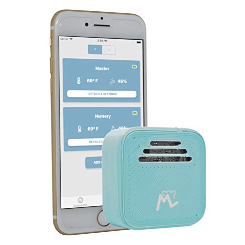 - Moat Temperature & Humidity Bluetooth Smart Sensor for iPhone - Wireless iOS Thermometer/Hygrometer with alerts to Monitor The Climate in Your Nursery, Incubator, Any Room (Baby Blue-1 Sensor)