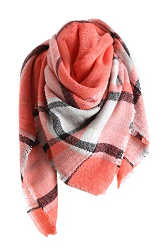 (Yanekop Womens Oversized Blanket Scarf Fashion Plaid Shawl Wrap Best Gifts(Coral))