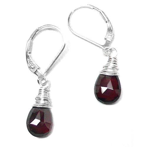 - Garnet 9x6mm Briolette Lever Back Earrings Wire-Wrapped Sterling Silver