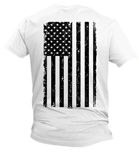 Distressed Black USA Flag - United States Men's T-Shirt (White - Back Print, Small) ()