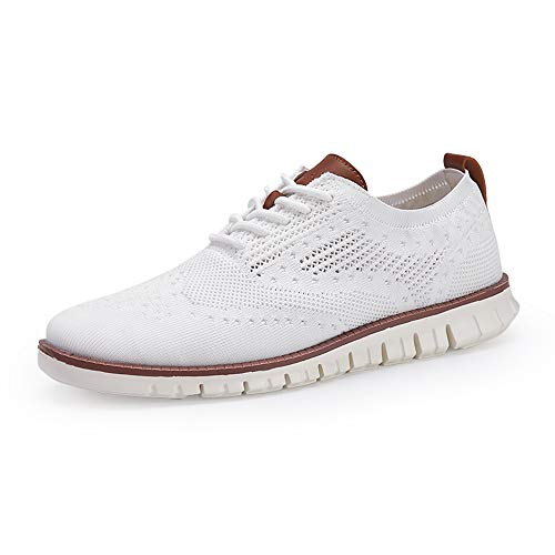 COOJOY Men's Mesh Wingtip Oxford Breathable Walking Shoes Casual Lightweight Lace up Sneaker, White 6.5