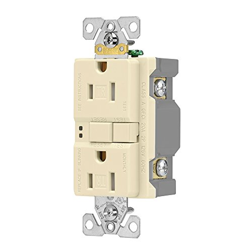Eaton GFCI Self-Test 15A -125V Tamper Resistant Duplex Receptacle with Standard Size Wallplate, Almond by Eaton