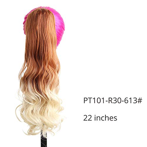 Long Wavy Synthetic Claw Clip Ponytail Hair Extensions Can Be Curled High Temperature Fiber Hairpieces For Women PT101-R30-613 22inches