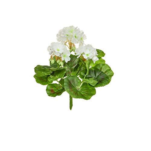 Floristrywarehouse Geranium Bush Artificial Silk Upright 9 Inch White Hanging Basket Window Box Flowers