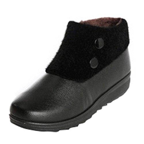 Dear Time Ankle Winter Boots Women Wedge Side Zipper Faux Fur Boots Booties Black ecH8eqo