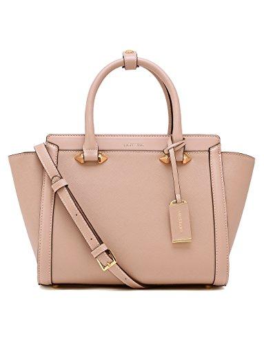 LA'FESTIN Leather Tote Handbags for Women with Long Shoulder Strap Classic & Functional Pink Purse by LA'FESTIN