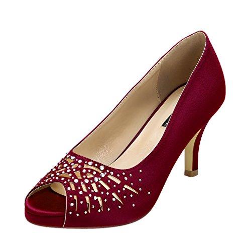 ERIJUNOR E1941 Women Peep Toe Comfort Low Heel Platform Rhinestones Satin Wedding Bridal Evening Dress Shoes Burgundy Size 8 Satin Peep Toe Platform