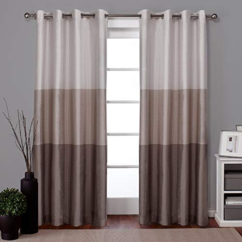 Exclusive Home Curtains Chateau Striped Faux Silk Window Curtain Panel Pair with Grommet Top, 54x84, Taupe, 2 Piece (Cream Curtains Brown)