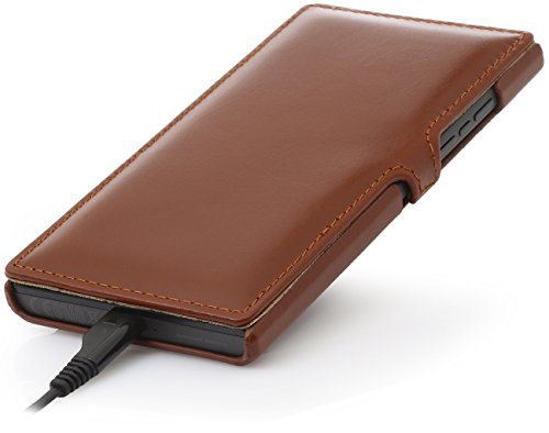 StilGut Book Type Funda con cierre clip, de piel auténtica para BlackBerry Leap, Rojo - Nappa Coñac - con clip
