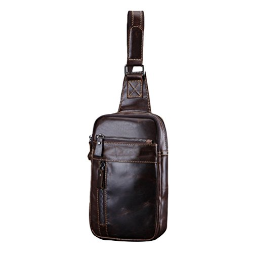 Zhhlaixing Bolsa de pecho Men's Cowhide Leather Shoulder Chest Bag Men's Leisure Bag Travel Pouch Pack