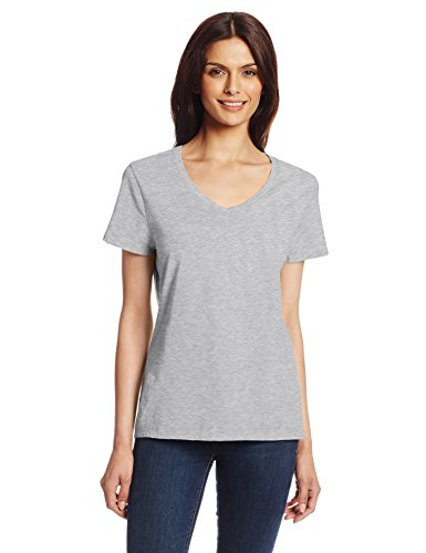 hanes-womens-nano-premium-cotton-v-neck-tee-gray-x-large