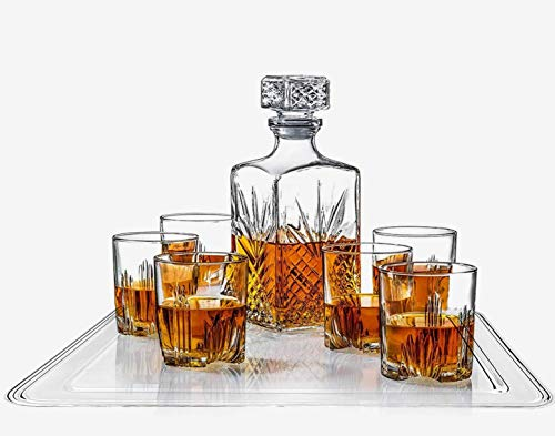 8-Piece Decanter Set - Whiskey Glass Lead Free Sophisticated Decanter with Beautiful Stopper, 6 Lovely Cocktail Glasses, and Rectangular Tray ()