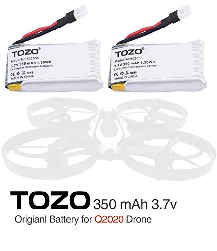 TOZO Q2020-05 Lithium battery 3.7V 350mAh for Q2020 and SIMREX X500 [ X500-004 ] X400-V2 Drone RC Quadcopter Remote Quadcopter.[ 2PCS ]