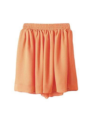 Jueshanzj femme Jupe midi et taille lastique Orange