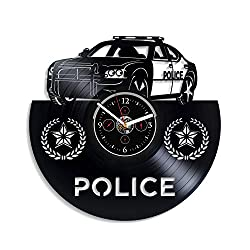 Police Car Wall Clock Vintage Vinyl Record Retro Wall Clock Police Car Art Exclusive Wall Clock 12 Inch Birthday Gift Police Car Gift for Boys New Year Gift for Husband Handmade Clock