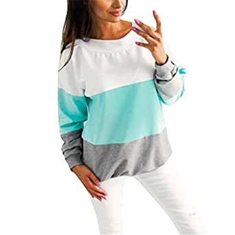 Kimloog Kimooog Women Crew Neck Long Sleeve V Back Lace Up Color-Block Sweatshirt Pullover Tops (S, Blue)
