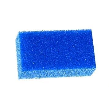 Esponja de limpieza-filtro azul disponible de porosidad grueso, medio o efecto, para