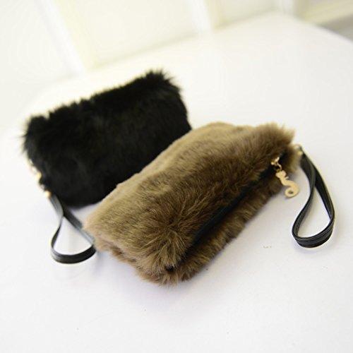 Party Clutch Purse Dinner Coafit Clutch Brown Women Fur Bag Faux wCqKIO