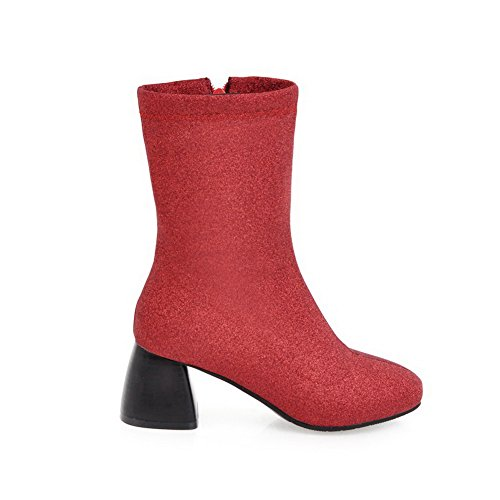 Zip BalaMasa Boots Urethane Mid Red Sequin Calf Womens ABL10618 Solid XHr4Xq