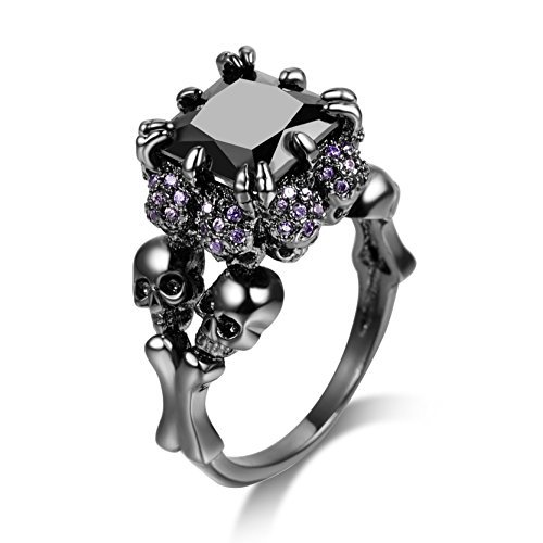 DALARAN Skull Rings Black Cubic Zirconia for Women Fashion Rings Halloween Christmas Jewelry Size 9 Punk Style]()