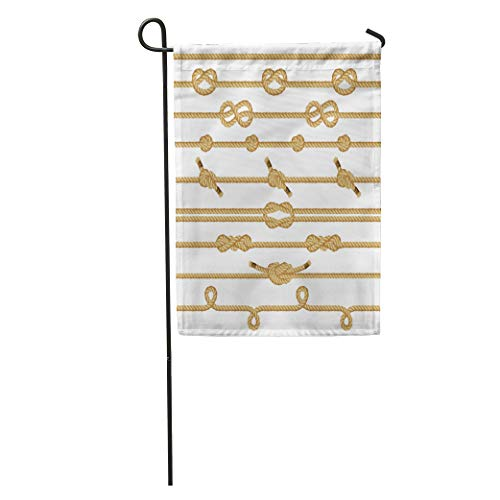 Semtomn Garden Flag Scout Rope Knots Collection Boat Sea Ship Straight Simple String Home Yard House Decor Barnner Outdoor Stand 12x18 Inches Flag