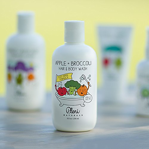 Pleni Naturals Apple + Broccoli Hair & Body Wash 8oz with Organic Sweet Orange Essential Oil, Dermatologist Tested and Safe for Baby, Toddler and Small Children with Sensitive Skin by Pleni Naturals (Image #1)