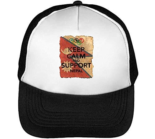 Vintage Keep Calm Support Nepal Flag Background Gorras Hombre Snapback Beisbol Negro Blanco