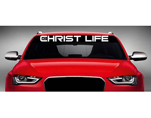 "Noizy Graphics 40"" x 4"" Christ Life - Ithycus Christian Car Windshield Sticker Truck Window Vinyl Decal Color: Forrest Green"