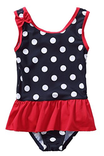 Attraco Baby Girls Polka Dot Ruffle Swimwear One Piece Bow Swimsuit 18 Months