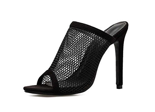 la Roma vestir tamaño puro Mesh Onfly de bomba 34 Peep zapatos Mujeres de 11 Stiletto 40 Cool Zapatillas Toe color de Negro 5cm zapatos zapatos hilo neta Mules sandalias corte Eu pqxHwSBx