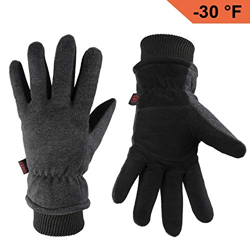 OZERO Winter Gloves Coldproof Snow Work Ski Glove - Deerskin Leather Palm & Polar Fleece Back with Insulated Cotton - Windproof Water-Resistant Warm Hands in Cold Weather for Women Men - Gray(L)