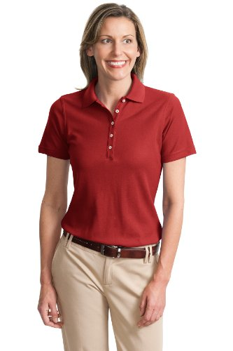 Port Authority Ladies Cotton Pique Knit Sport Shirt, 3XL, Tomato Red