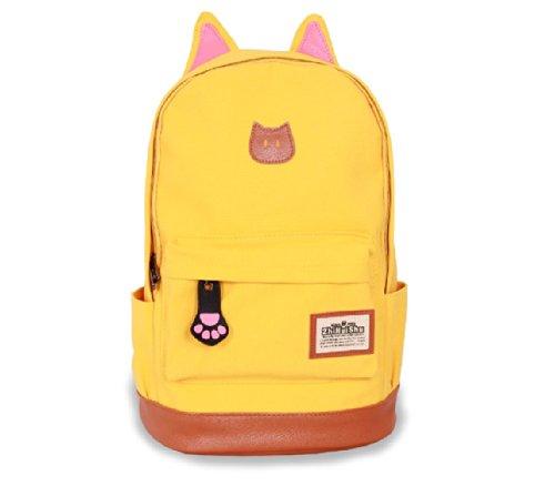Fashion Plaza super süß Katze Ohre Design Canvas Rucksack Rucksäcke für Mädchen Schuler Kinder in der Schule mehrere Farben C5004 (wassermelon) gelb
