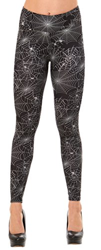 Just One Women's Fun Peach Feel Halloween Leggings (Black/White Spiderwebs, (Tacky Christmas Party Costume Ideas)