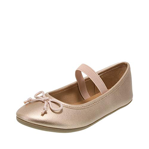 Zoe and Zac Shiny Rose Gold Girls' Toddler FAE String-Tie Flat 12 Regular