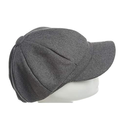 Unisex Octagonal Cap Pure Color Woolen Newsboy Cap Winter British Outdoor Cold Proof Hats