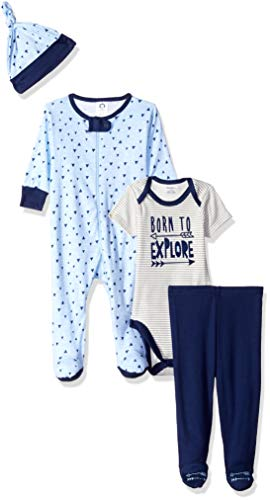 Unknown baby boys 4-piece Sleep 'N Play, Onesies, Cap infant and toddler pants clothing sets, Explore, 0-3 Months US