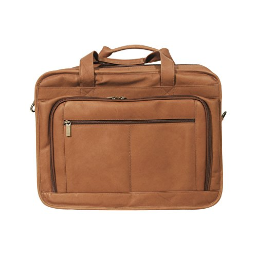 Andrew Philips Vaqueta Napa Leather Oversized Laptop Briefcase in Tan