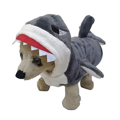 Mogoko Funny Dog Cat Shark Costumes, Pet Halloween Christmas Cosplay Dress, Adorable Shark Pet Costume,Animal Fleece…